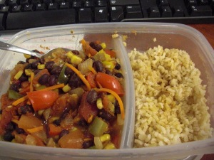 Vegetarian chili and brown rice